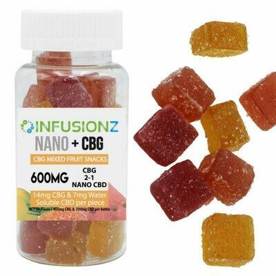 INFUSIONZ 600mg 2-1 CBG/NANOCBG Fruit Snacks (30 pieces)