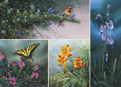 Wildflower Suite - Hummingbird, Shooting Stars, Tiger Lily, Swallowtail Butterfly