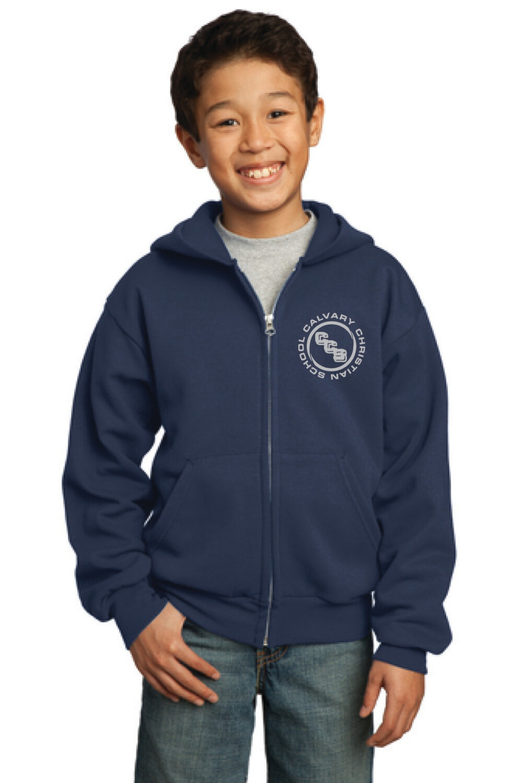Youth Core Fleece Full-Zip Hooded Sweatshirt Calvary Christian School
