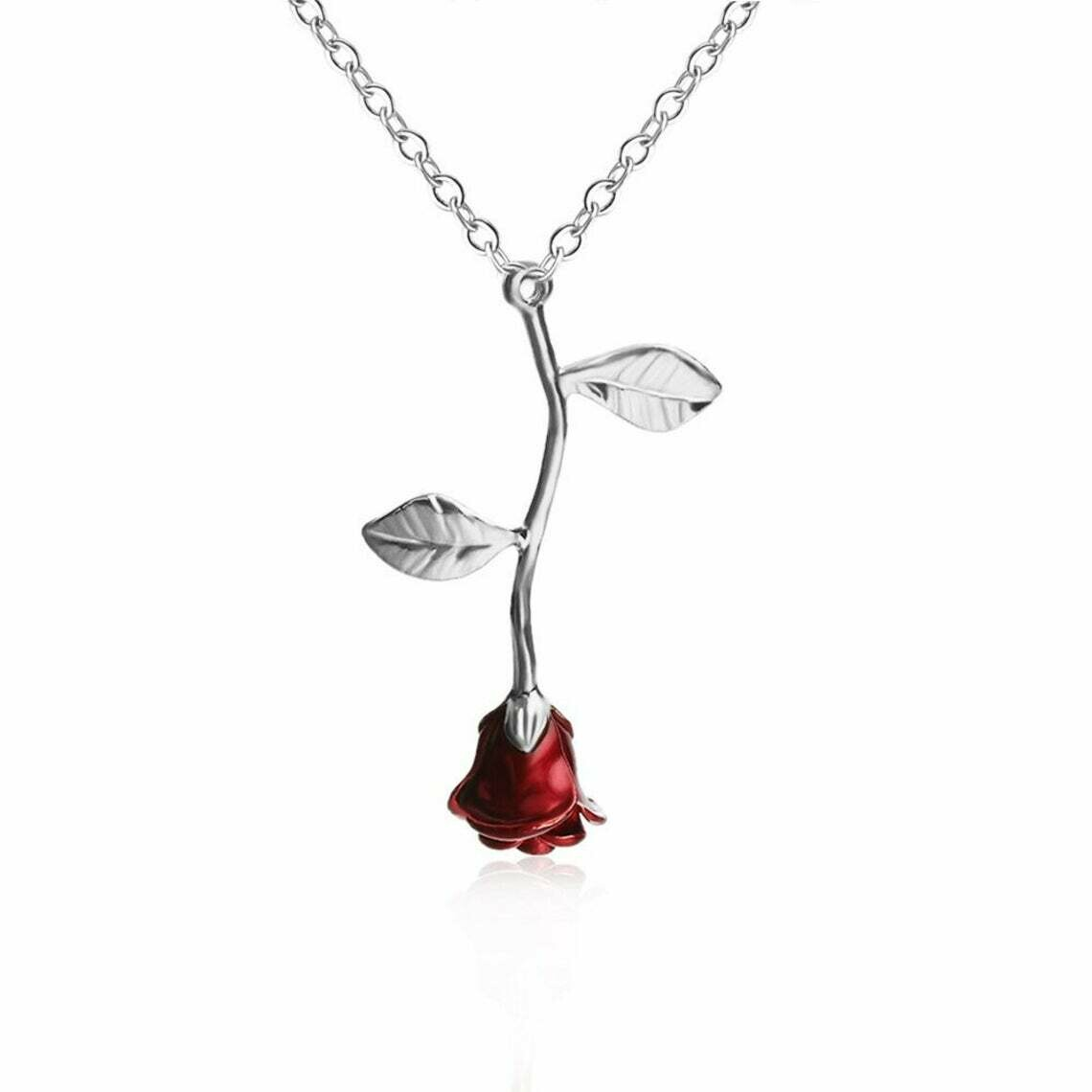 Red Rose Necklace Silver Chain