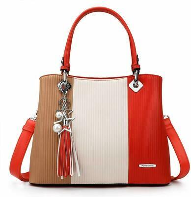 Damen Handtasche Mehrfarbig gestreift