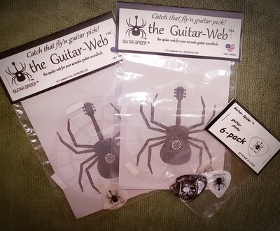 Guitar-Web TM - COMBO PACK - by Guitar-Spider TM  - FREE SHIPPING -  a glow-in-the-dark guitar pick included