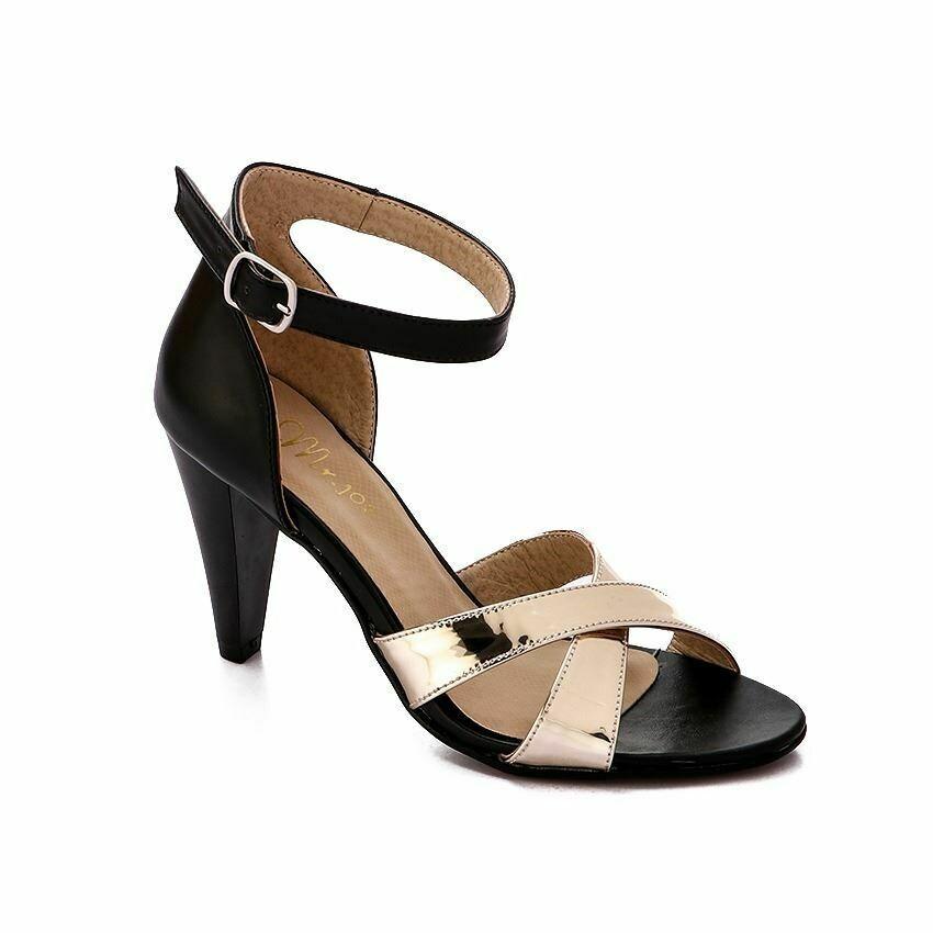 3351- Ankle Strap Heeled Black * Copper