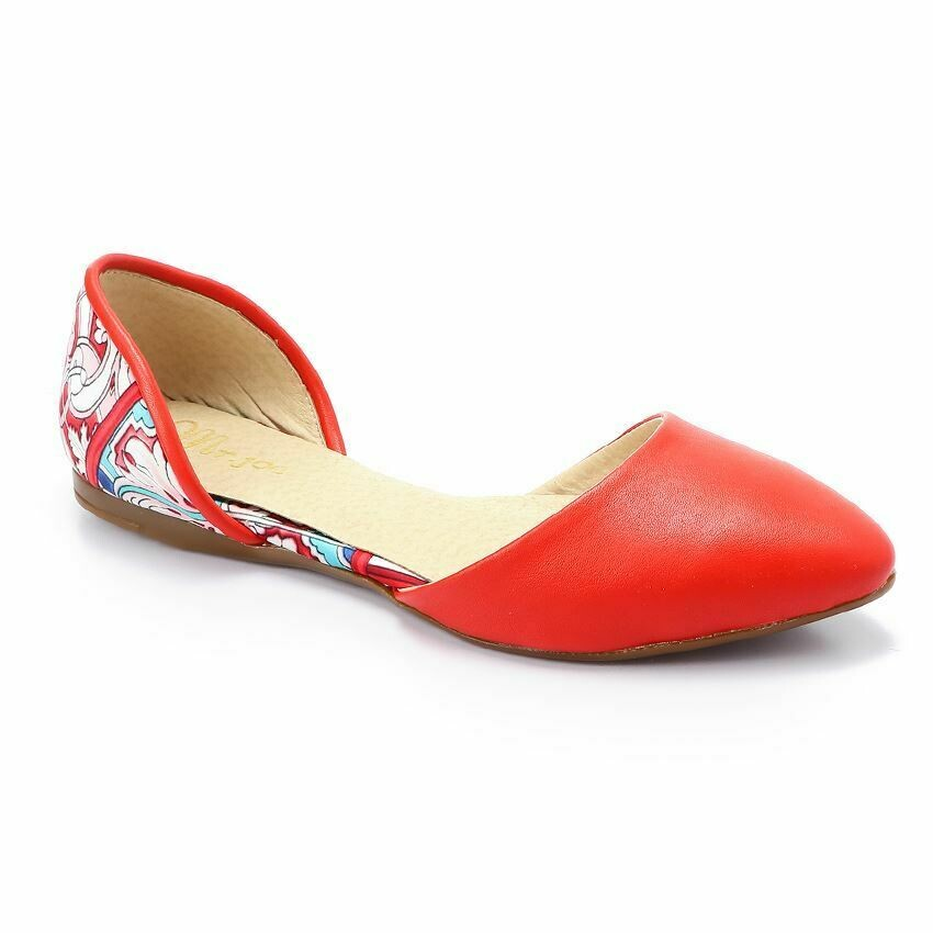 3358 Ballet Flat Shoes - Red