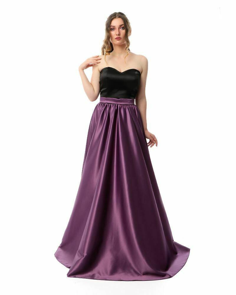 8411Soiree Dress - Black*Purple