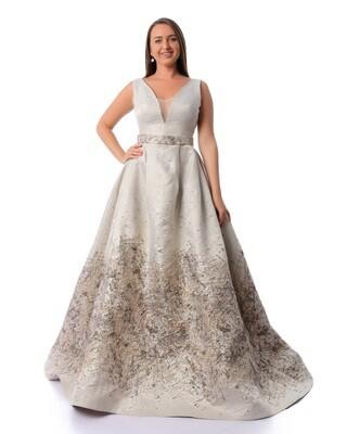 8449 - Soiree Dress - Begie