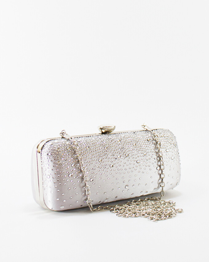 4048 Satin Clutch Bag - Silver