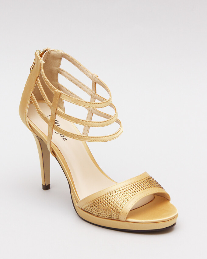 3590 Strappy Ankle Heeled Sandals - Gold