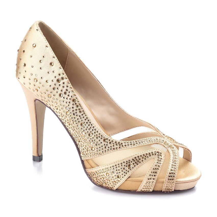 3599 Open Toe Heeled Sandals - Gold