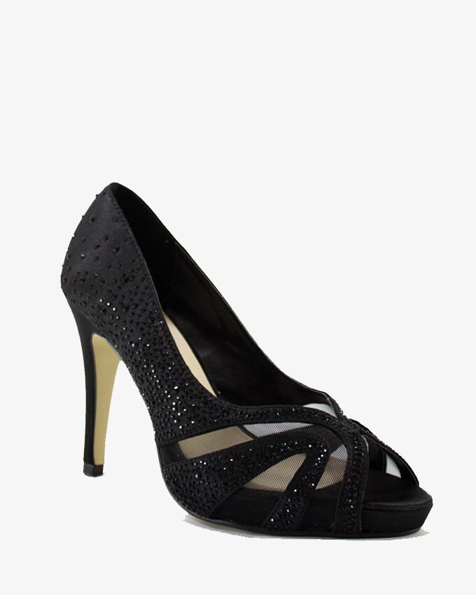 3599 Open Toe Heeled Sandals - Black