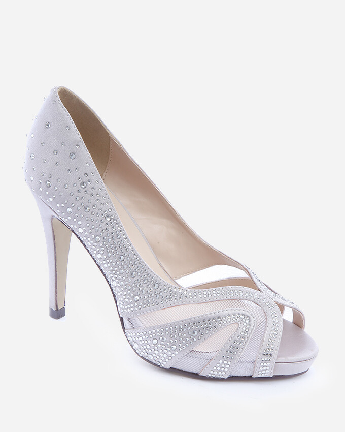 3599 Open Toe Heeled Sandals - Silver