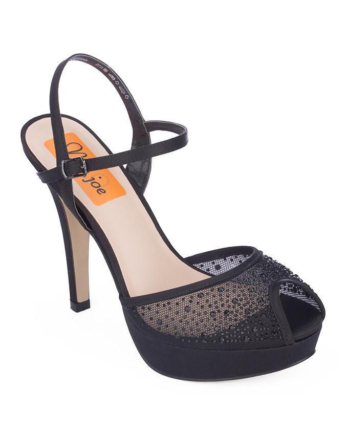 3712 Open Toe Heeled  - Black