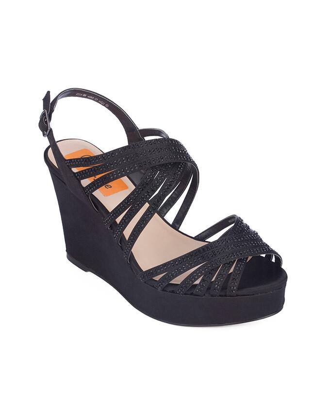 3713 Sandal Heeled  - Black