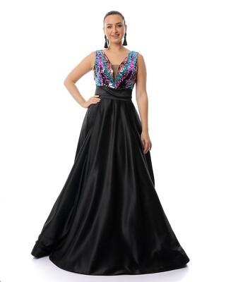 8465 Soiree Dress - Black*Fushia