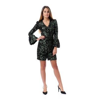8501 Soiree Jump Suit-  Black * Green