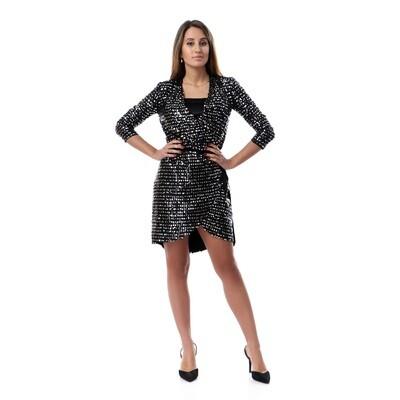 8506 Soiree Dress - Black * Silver