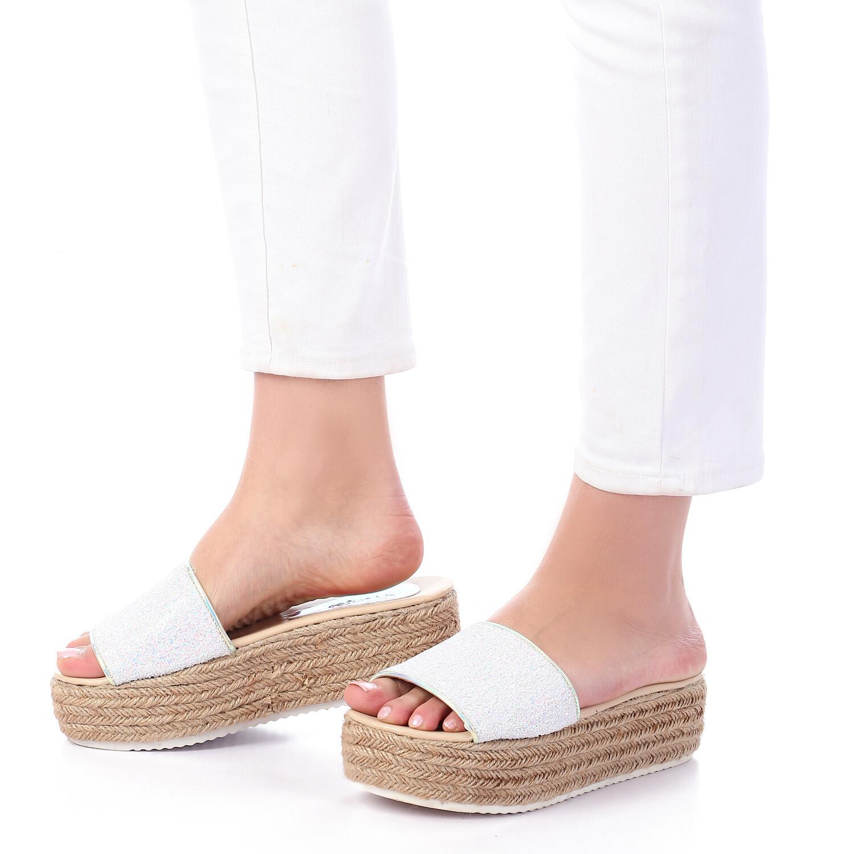 3396 Slipper -White Glitter