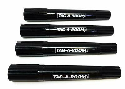 Tag-A-Room Permanent Markers, 4 Black Markers, Twin Tip Fine Point and Chisel Tip