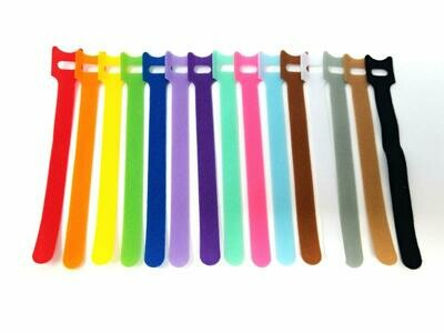 Tag-A-Room Color Coded Reusable Fastening Cable Ties/Organizer, Cable Straps, Hook and Loop Microfiber 6 Inch (15 Count)
