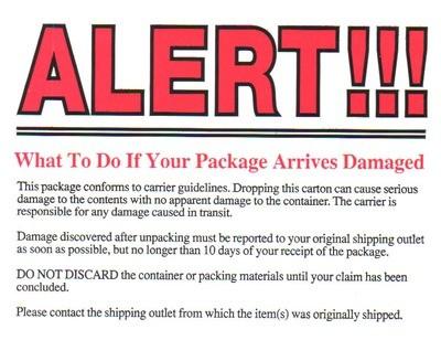 ALERT!!! - Damaged Package Shipping Label
