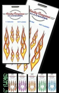 Yellow Flame Removable Illusion Stickers