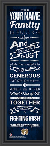 Notre Dame Family Cheer Personalized Print