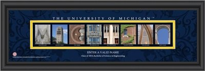 Michigan Campus Letter Art Personalized Print