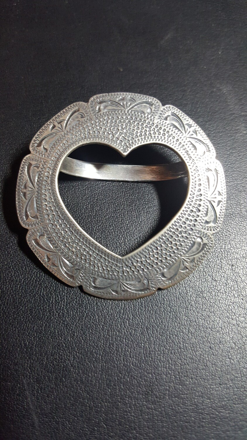 Engraved Sterling Silver Heart Scarf Slide