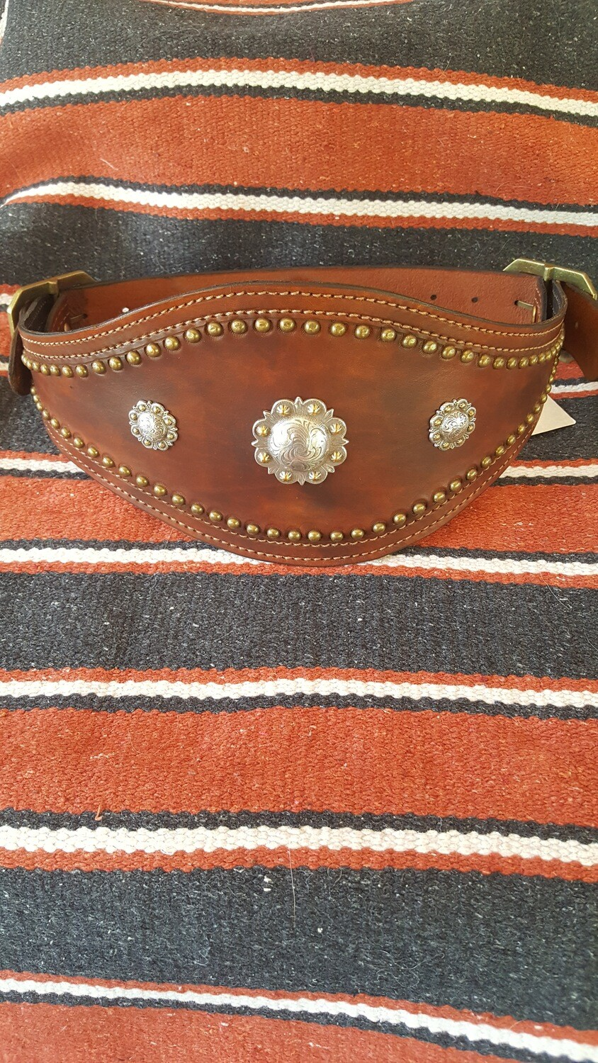 Ladies Brown Leather Bronco Belt with Conchos and Spots