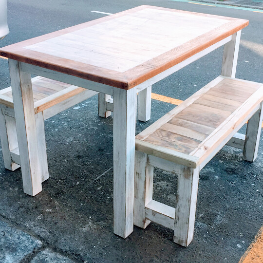 Natural kitchen table and bench set
