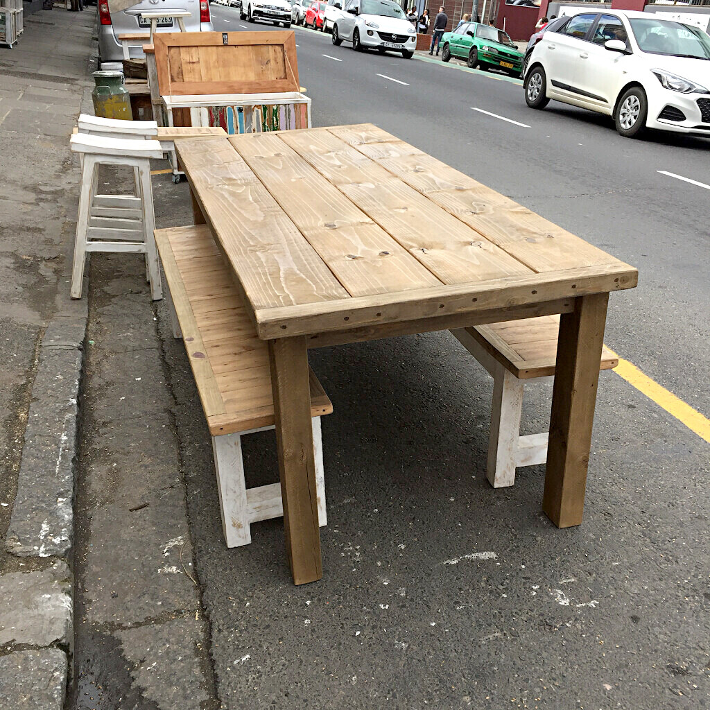 Two meter wooden table with two matching benches