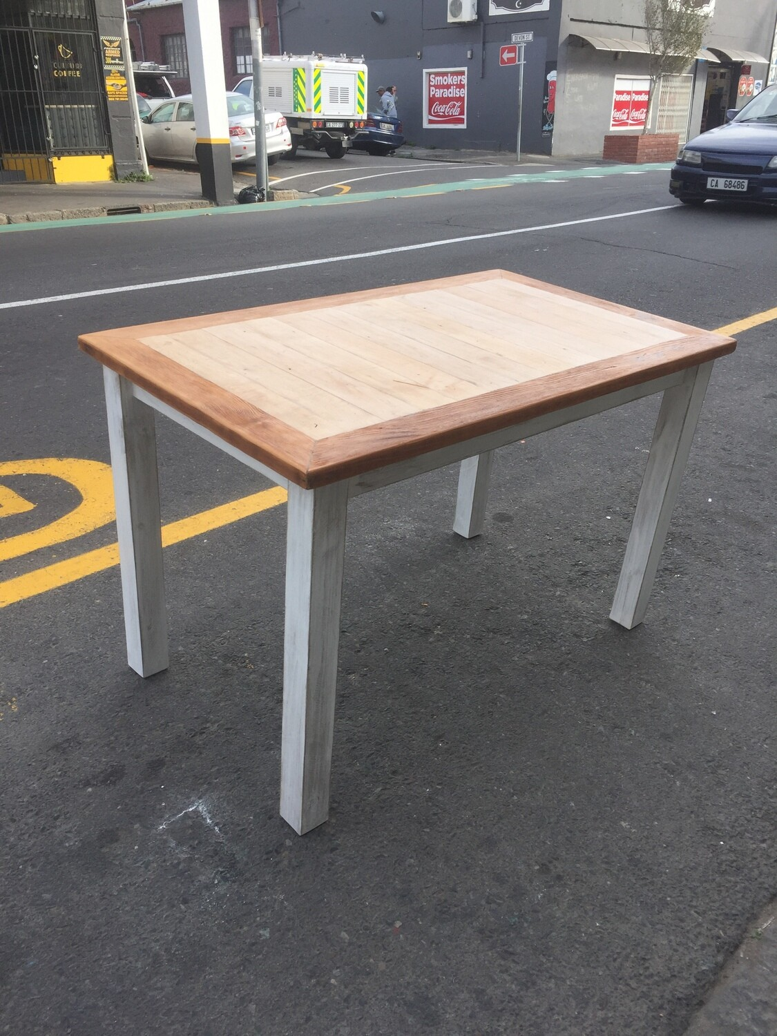 Rustic table with straight legs 4 seater