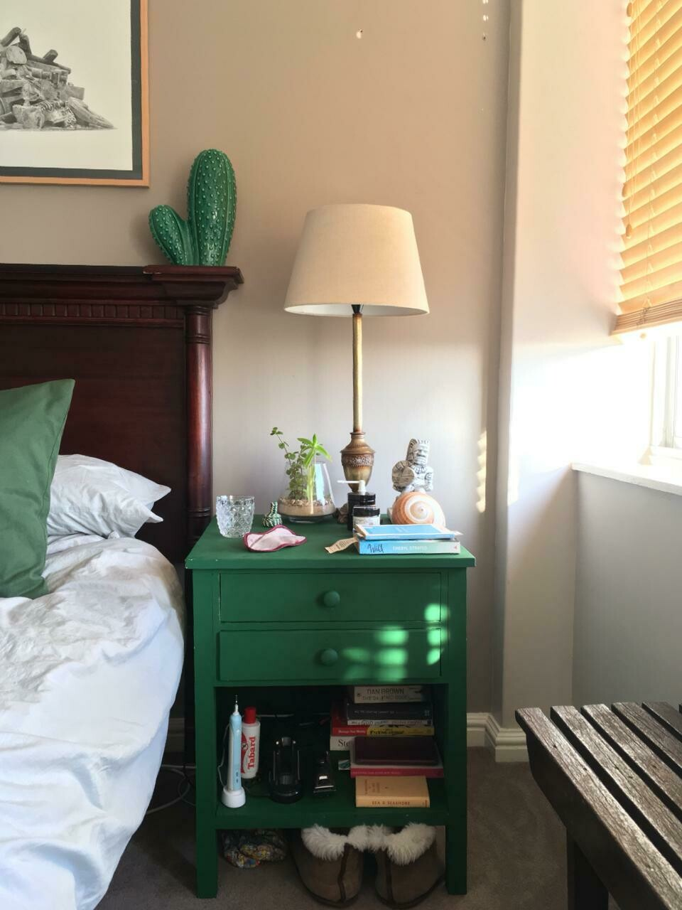 Rustic bedside table antique green