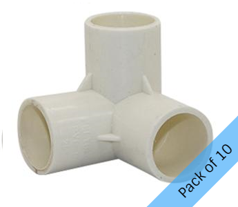 PVC Connector - 3 Way Elbow - 25mm. Pack of 10