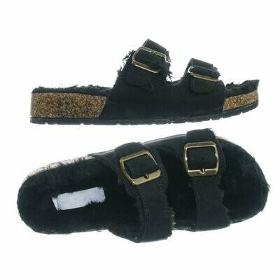 316 DEFEAT Black Fuzzy Slides