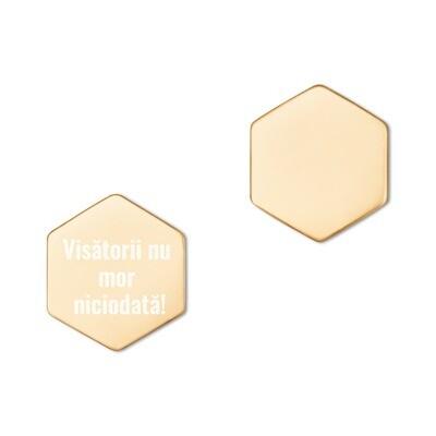 Cercei hexagon din argint Sterling