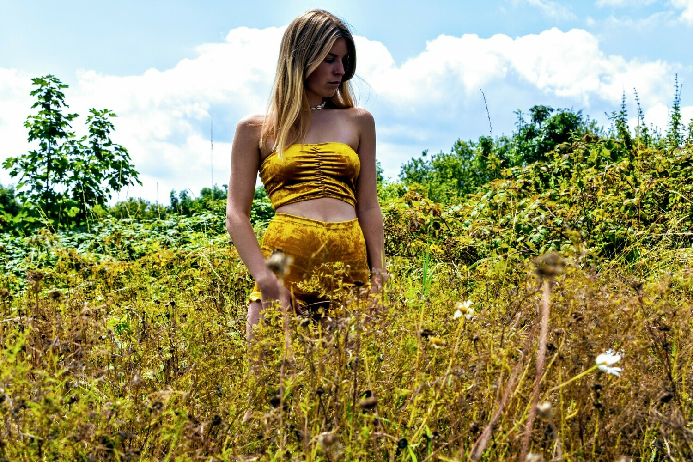Gold velvet bikini co ord bandeau and shorts