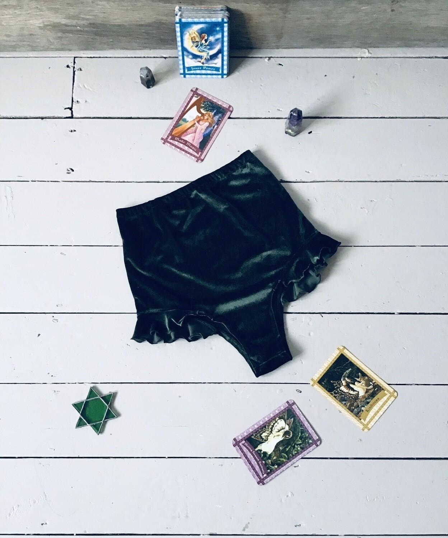 Velvet Frill High Waist Bikini Shorts