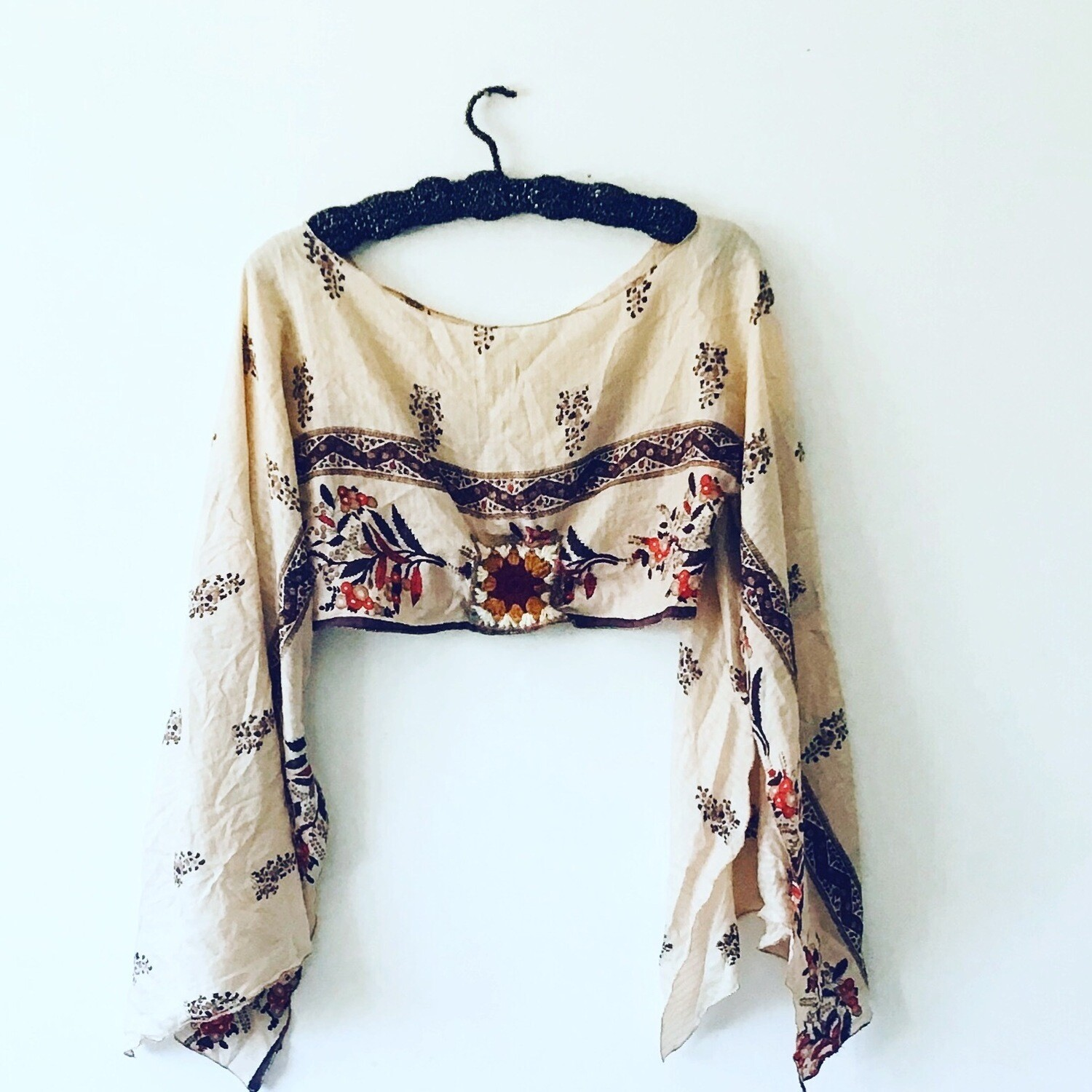 Vintage Silk Boho Poncho Crop Top