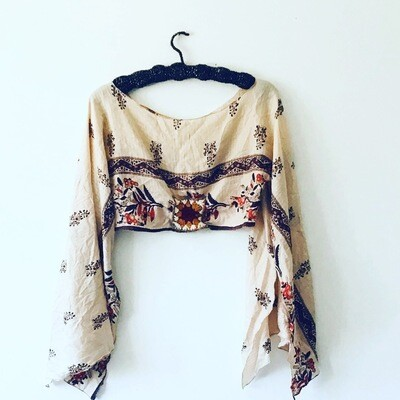 Vintage Silk Boho Poncho Crop Top