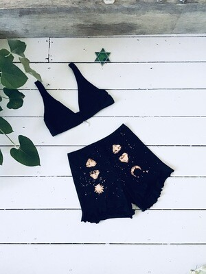Witchy organic Cotton Bralette And Frilled Shorts