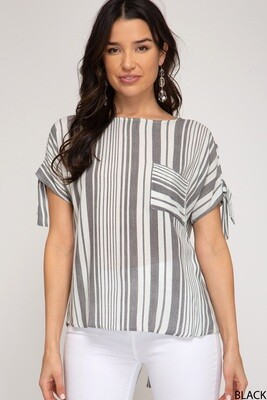 Striped Button Back Top