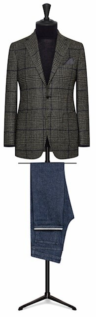 Charcoal Grey Bold Plaid Check in Single Breasted Two Button Model With Notch Lapel w/ Lower Patch Pockets and Side vents
