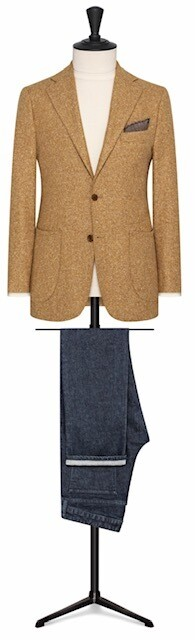 Light Tan In Tweed Single Breasted Two Button Notch lapel w/ Lower Patch Pockets and Side Vents