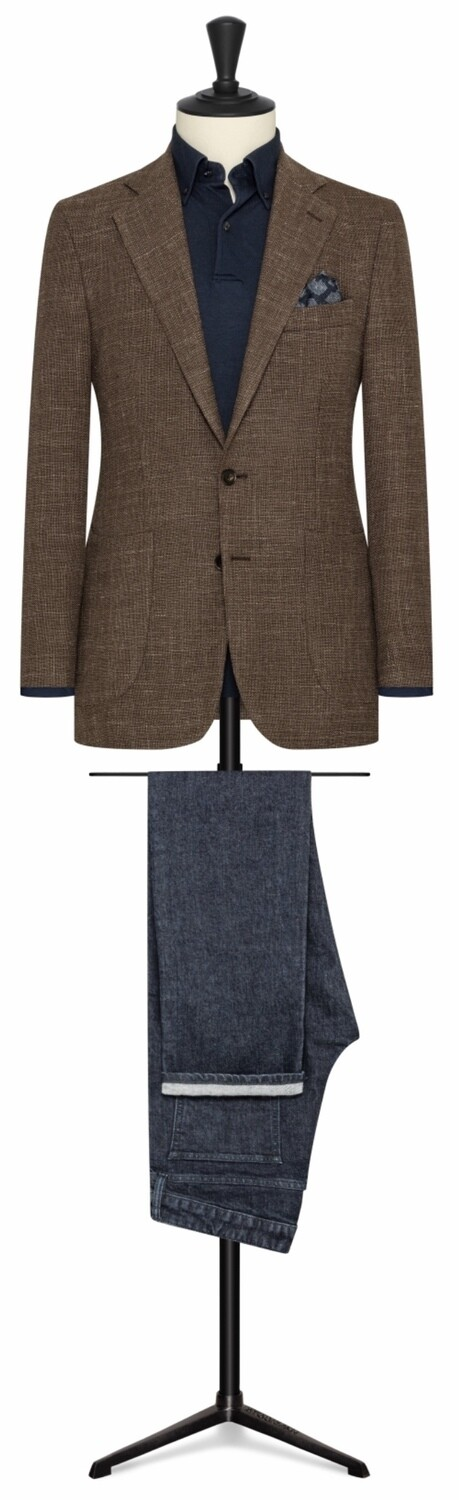 Solid Brown Single Breasted Notch Lapel Two Button Model w/ Lower Patch Pockets and Side Vents