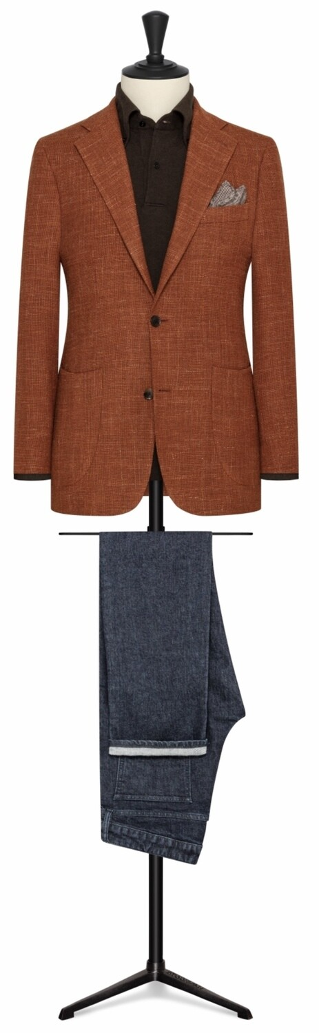 Burnt Orange Single Breasted Two Button Notch Lapel Model w/ Lower Patch Pockets