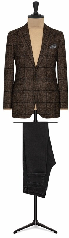 Bold Brown Window Pane Plaid Check In Single Breasted Notch Lapel w/ lower Patch Pockets and Side Vents