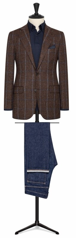 Brown W/  White and Blue Chalk Window Pane Single Breasted Two Button Model w/ Lower Flap Pockets and Side vents
