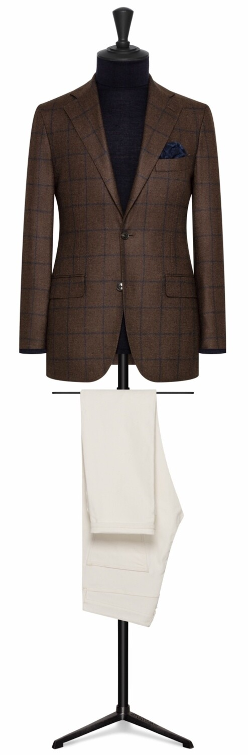 Brown w/Blue Window Pane Single Breasted Notch Lapel Two Button Model w/ Lower Patch Pockets and Side Vents