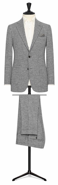 Medium Grey Double Pin Stripe in Single Breasted Notch Lapel Two Button Model w/ Lower Patch Pockets
